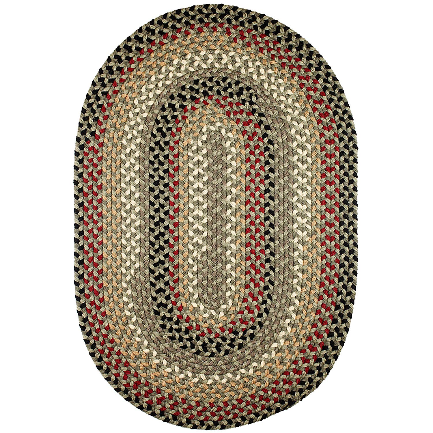 Super Area Rugs Santa Maria Braided Rug Indoor Outdoor Rug Washable Reversible Green Patio Deck Carpet, 5' X 8' Oval