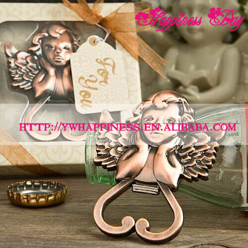 Baby Shower Favors Heart Cherub Design Antique Copper Angel Wine Bottle Opener Wedding & Bridal Shower Favors