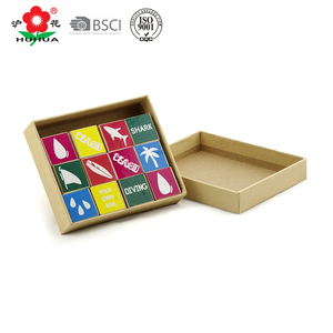 gift wooden stamp set kraft box packing custom mini stamps with cute patterns