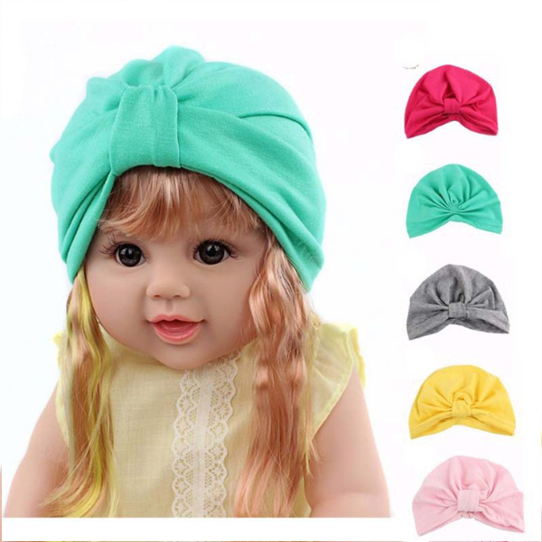 Multicolor stock Direct-factory Selling 100% polyester fashion Muslim baby turban hat for sale