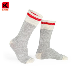 KT-BZ-1416 grey wool socks with red stripe
