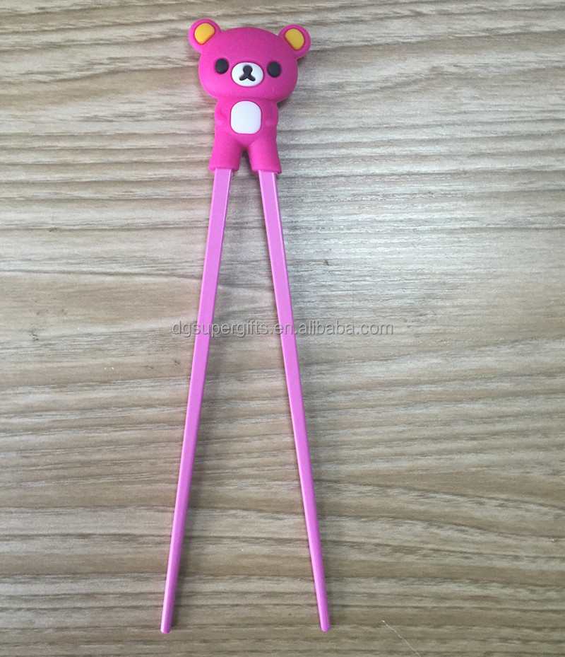 Red bear silicone nontoxic baby kid learning chopsticks customized animal chopsticks