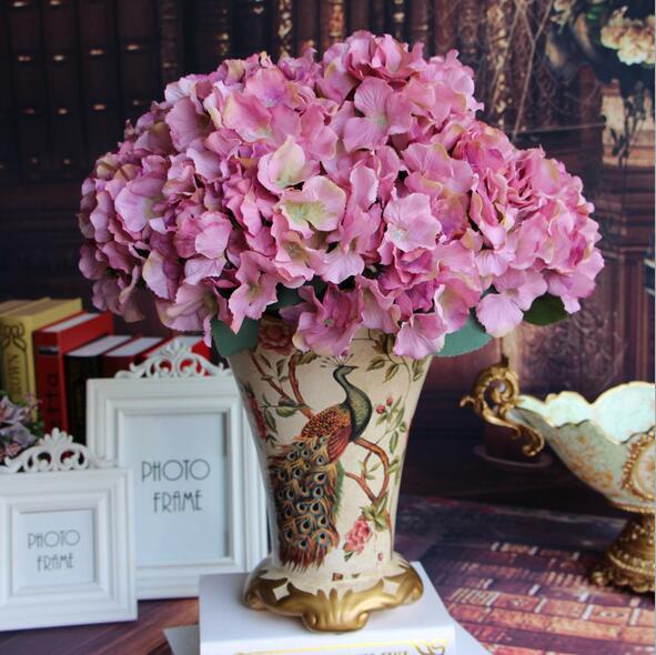 Hot Sale! 20cm Dia. Single Frech Spring Color Hydrangea Flower 2 Colors Artificial Silk Flowers Wedding & Home Decoration