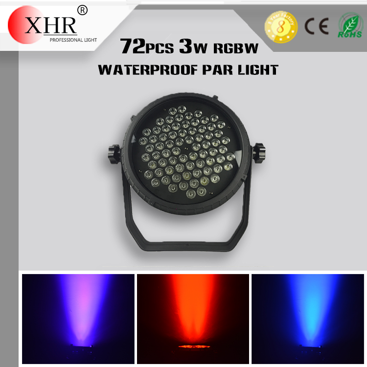Good LED Stage Lighting,Waterproof LED 72pcs 3W RGBW Par Lights IP65,RGBW Lighting Effects