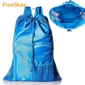 Mesh Equipment Bag Mesh Beach Outdoors Swimming Bag Gym Sack Drawstring Backpack Unisex Sports Gear Bag