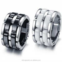 wholesale new design channel jewelry black ceramic ring