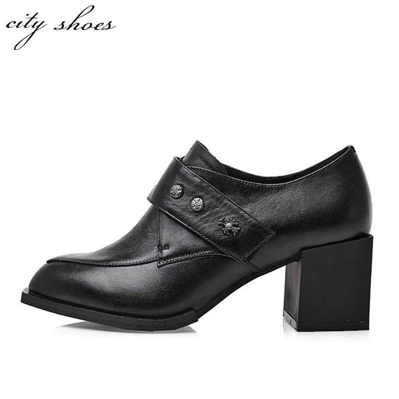 9f5a3eceac13 Get Quotations · Pointed toe Rivets chaussure a talon womans shoes Thick  heels 2015 new Arrive Spring Black Casual