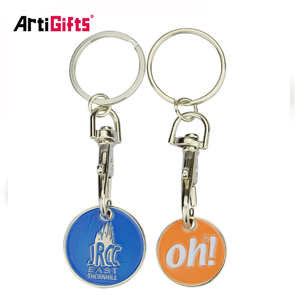 Free design custom coin for supermarket trolley, metal token shopping trolley coin key chain