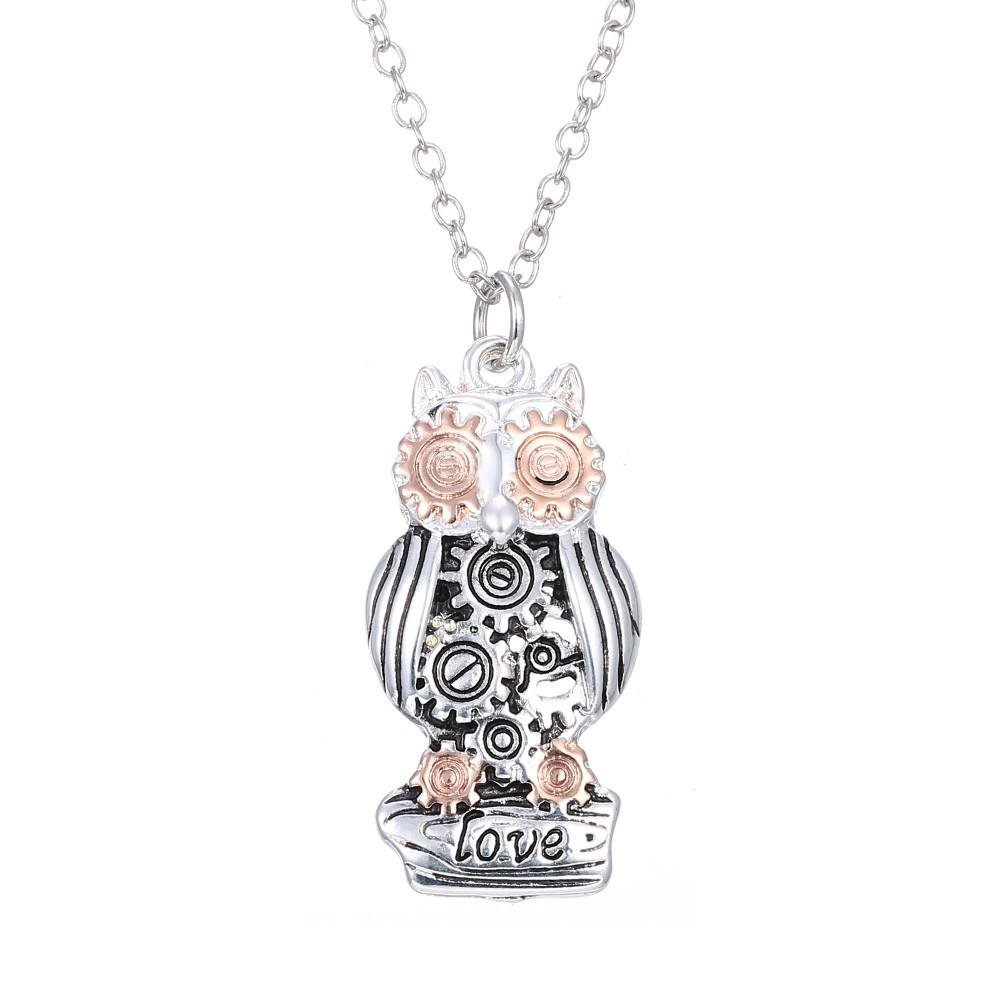 Luvalti Owl Pendant Necklace for Women - Gear Pendant Necklace - Fashion Jewelry