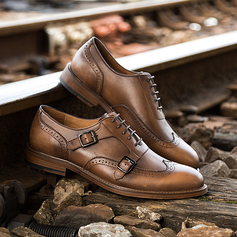 Classic Italian man leather shoe Brogue Monk strap mens dress shoes