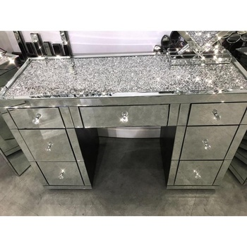 Direct Crushed Diamonds On Table Top Mirrored Dressing With Drawers Chest New Uk Elegant Console