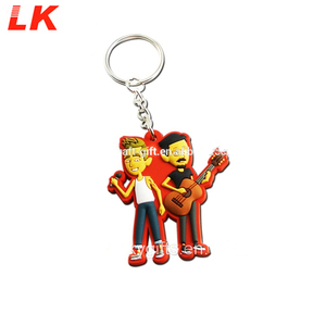 Custom soft pvc rubber boy girl matching couple keychain with keyring