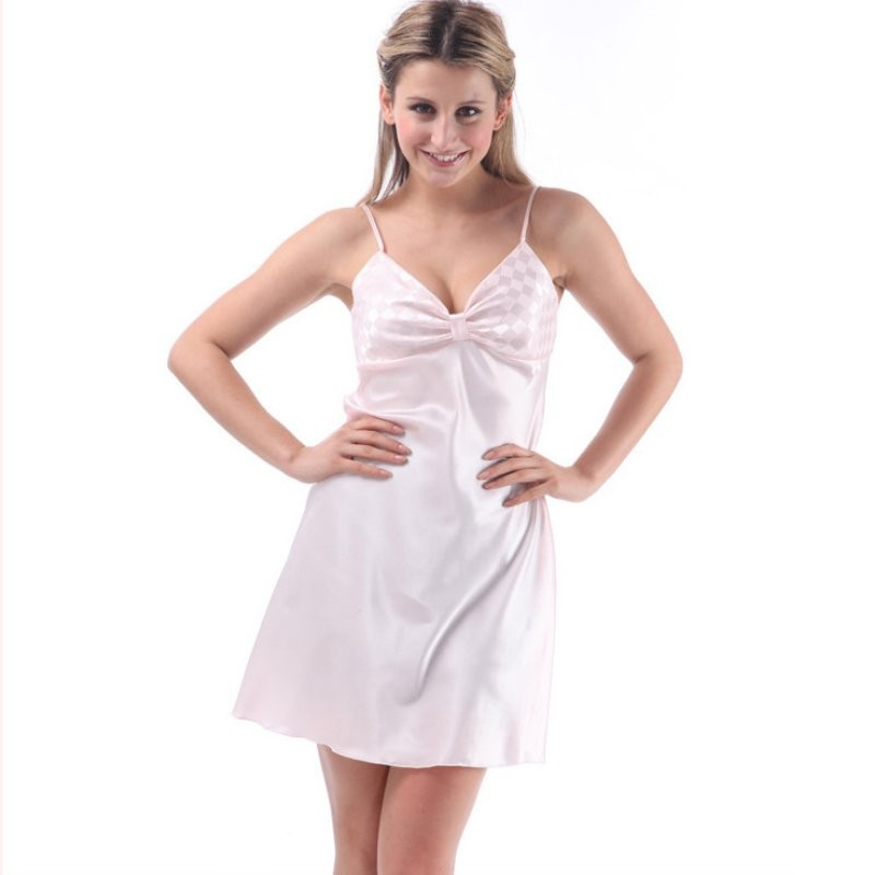 c4aafef1d5 2019 Wholesale Ladies Sexy Silk Satin Night Dress Sleeveless ...