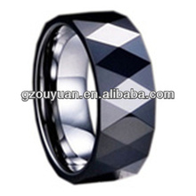 8MM Beautiful Tungsten ring with black ceramic inlay