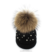 H94 Colorful hot elegant raccoon fur pompon top knitted wool beanie hat with pearl for women winter