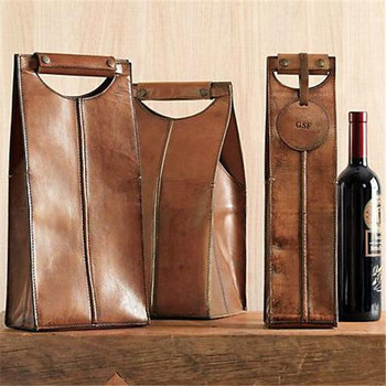 Leather Wine Carrier >> Brown Soft Leather Wine Carrier Leather Wine Bag With Customized Tag