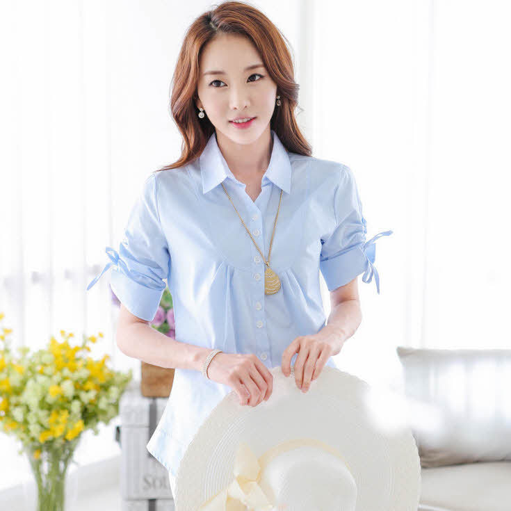 90e73c51cff15 Buy HJJ-19 S-XXL Plus size clothing women shirts blouses Fashion Korean  Cotton Short sleeve Ladies office shirts clothes Korean in Cheap Price on  m.alibaba. ...