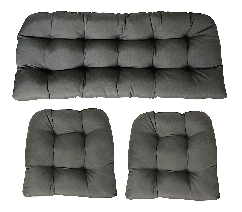 Sunbrella Canvas Charcoal 3 Piece Wicker Cushion Set - Indoor / Outdoor Wicker Loveseat Settee & 2 Matching Chair Cushions - Dark Grey