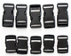10x 25mm Black Plastic Side Quick Release Buckle Clip double regulating buckle