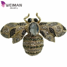 Unique Black Large Size Bee Rhinestone Crystal Insect Brooch Pin Woman Brooch