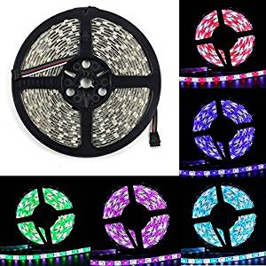 BZONE DC 12V RGB+Cool White RGBW LED Rope Light Flexible Waterproof Color Changing LED Strip Lights, 300 Units SMD 5050 LEDs, IP65 Waterproof, 5m 16.4FT, Black PCB Board