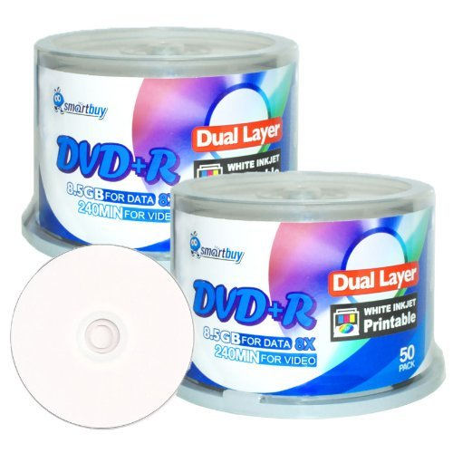 Smartbuy 8.5gb/240min 8x Dvd+r Dl Dual Layer White Inkjet Printable Blank Data Recordable Disc Spindle (100-Disc)