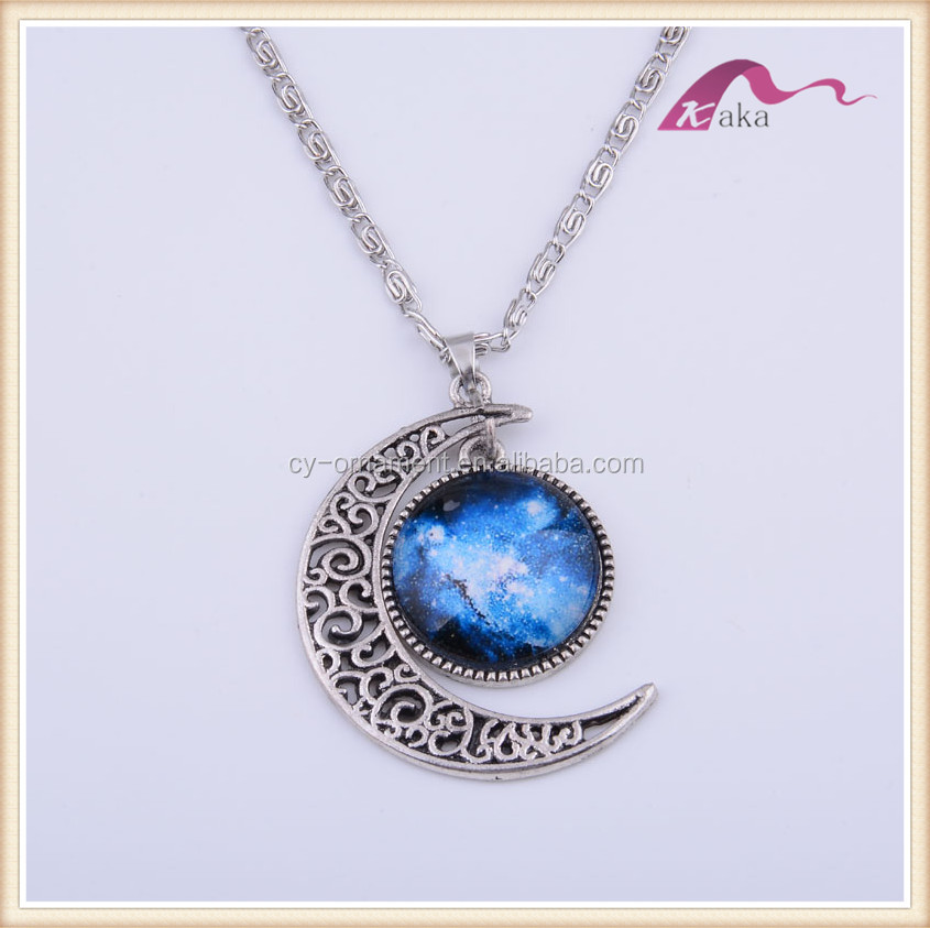 Fashion women space galaxy glass photo necklace,custom moon and sun charm pendant necklace