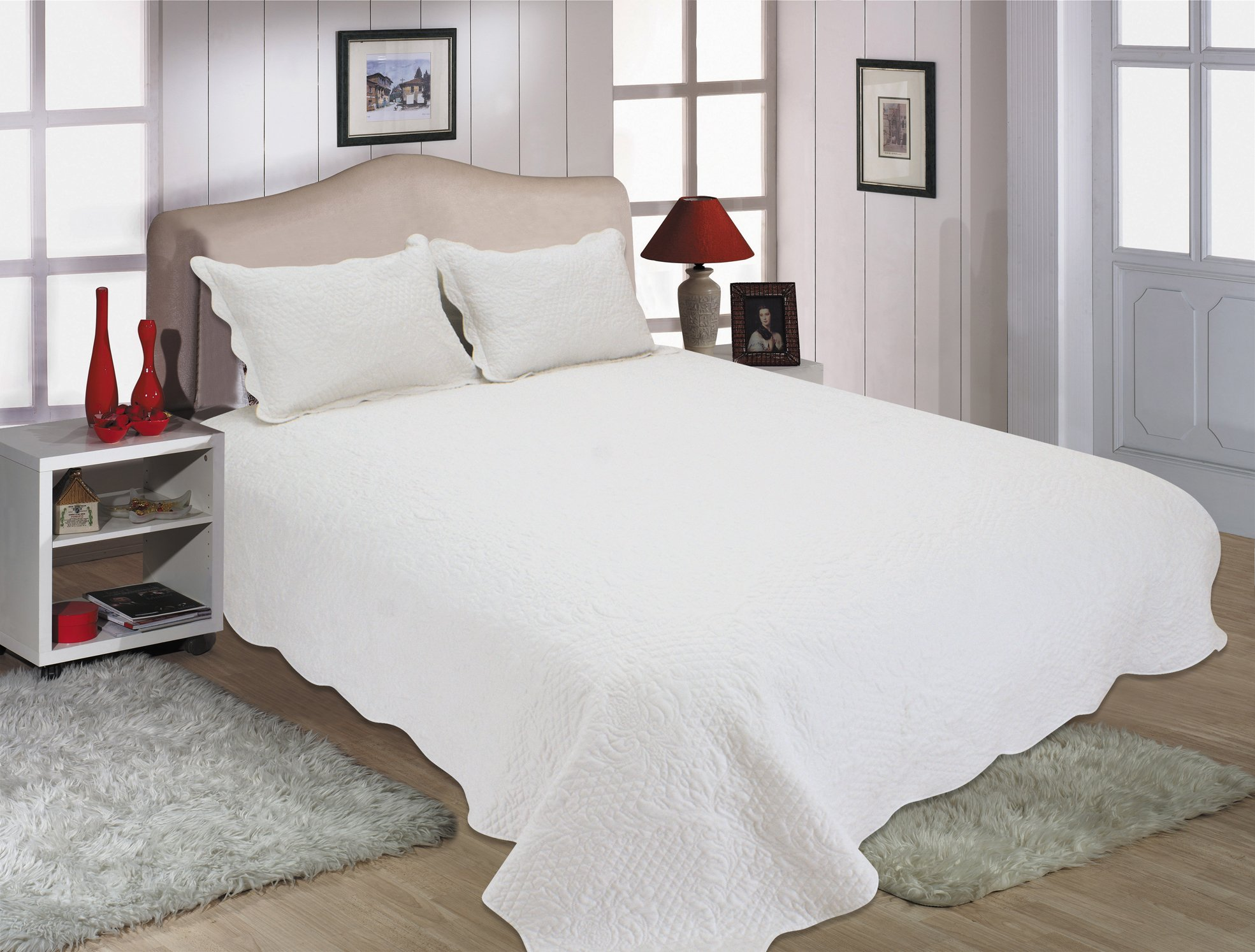 "ALL FOR YOU 3pc Reversible Quilt Set, Bedspread, and Coverlet-white/off white-Oversize 100"" x 110"" (Larger King with king size pillow shams,king, California King)"