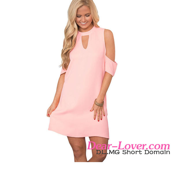 New Design Pink Artful Keyhole and Cold Shoulder Dress Women Casual