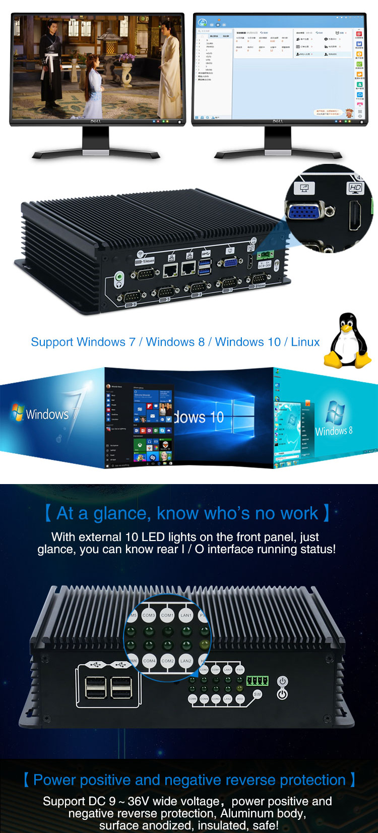 Intel J1900 quad core fanless industrial computer with 2 Intel Lan support 4G LTE and WiFi