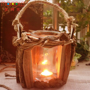 Country Style Glass Candle Lantern With Wooden Holder