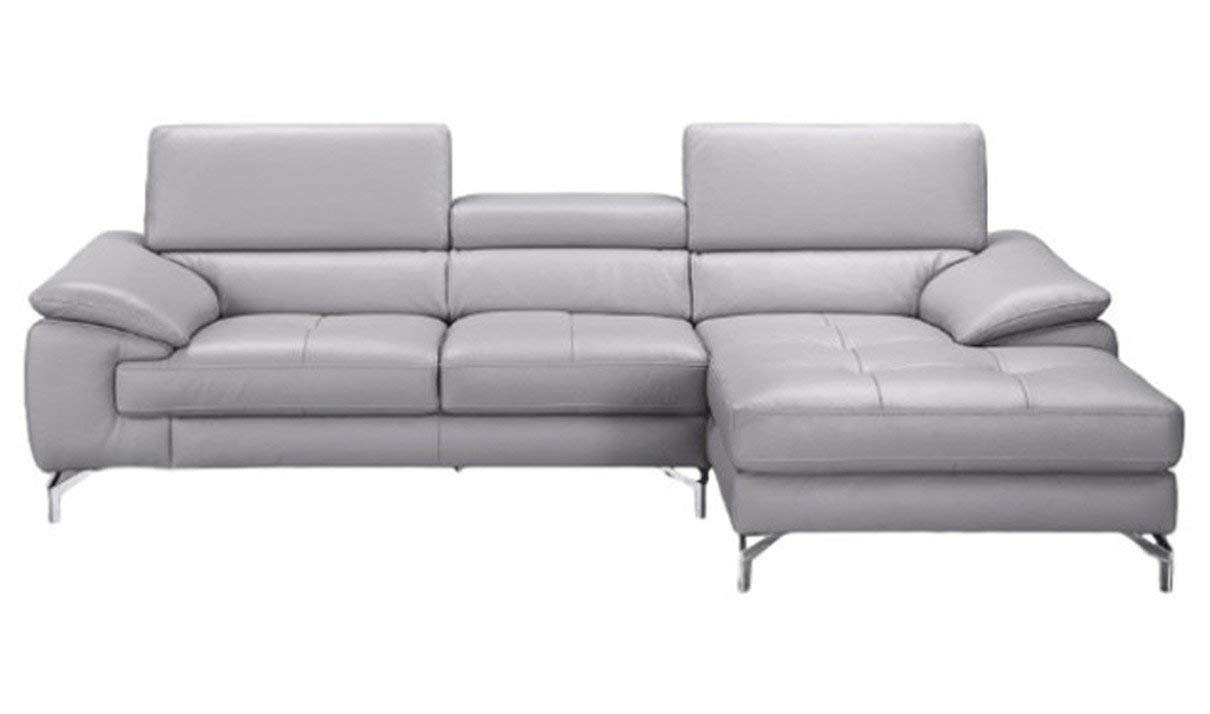 J&M Furniture Liam A973B Leather Right Facing Sectional Sofa in Element Grey
