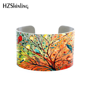 2019 Trendy Funky Birds on Trees Bangle Metal Cuff Colorful Birds Painting Bracelet Adjustable Bangles Printed Jewelry Gifts Men