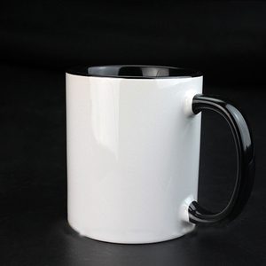 wholesale white black coffee Coating cup 11oz pour ceramic sublimation press color changing magic mug