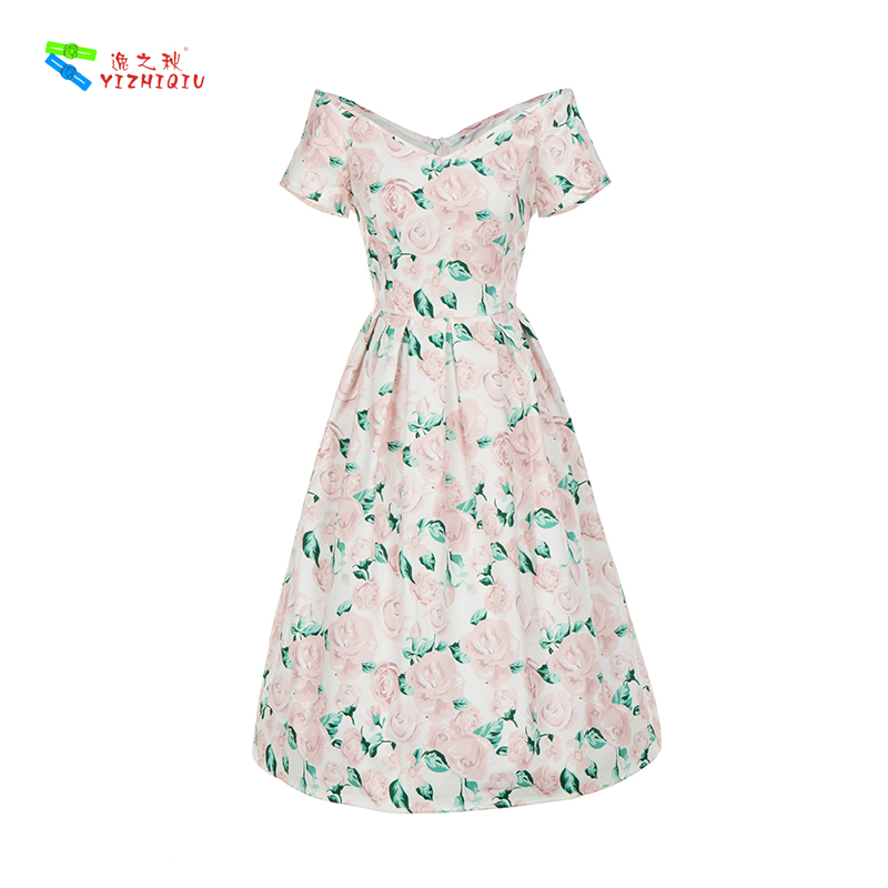 YIZHIQIU Printed vintage elegant printing waist slimming slim and big dress