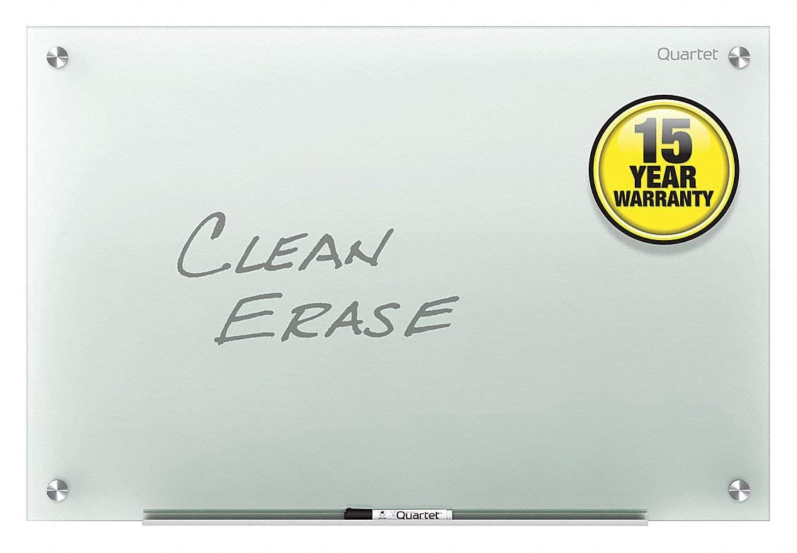 """Quartet Gloss-Finish Glass Dry Erase Board, Wall Mounted, 18""""H x 24""""W, Frosted"""