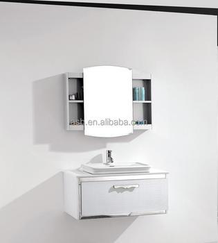 white 90cm stainless steel bathroom mirror cabinet singapore - Bathroom Cabinets Singapore