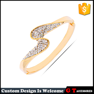 Jewelry Wholesale China Metal 18K Gold Plated Metal Bangle Bracelets Wristband With Crystal
