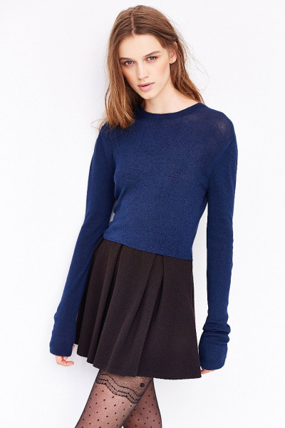Teenager girl's popular beautiful Blue Fitted Cropped cashmere Sweater: Fashion, Blue Sweaters, Clothes