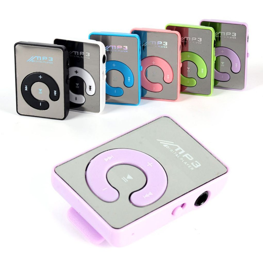 Free Shipping Mirror Clip USB MP3 Player Sport Support 8GB TF Card Portable Mini Music Media Player