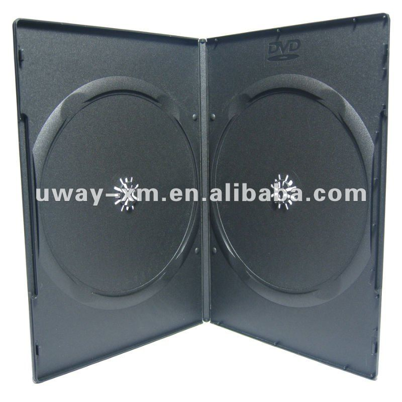 UW-DS-002B 7mm double black DVD Case with recycled PP material, suitable for automatic packing