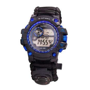 Adjustable waterproof 50 meters survival watch with compass