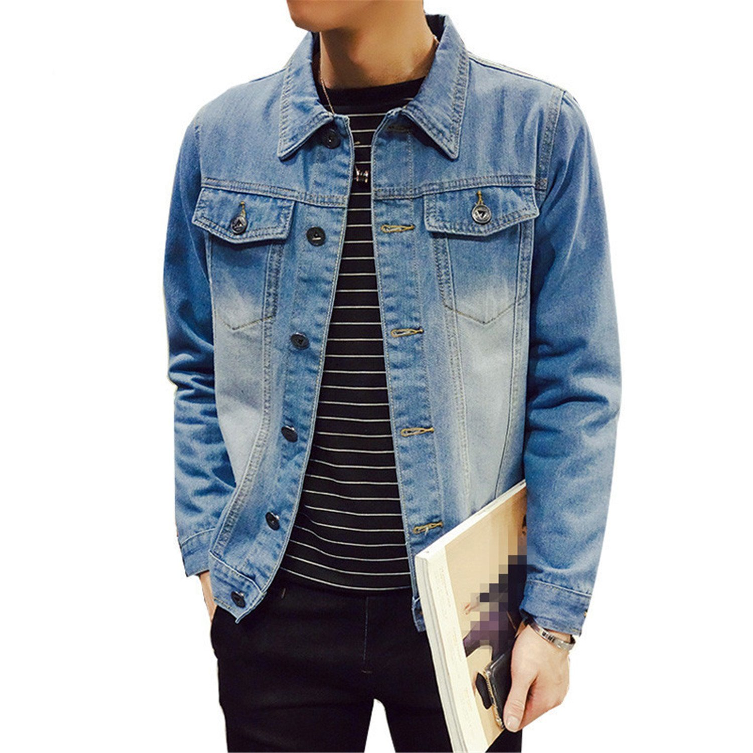 680beec9d37 Get Quotations · Batsomer Solid Casual Slim Mens Denim Jacket Plus Size S-4Xl  5XL Bomber Jacket Men