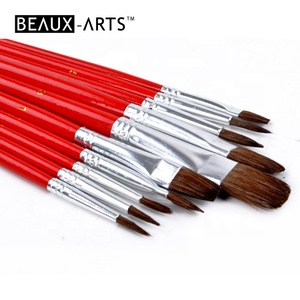 Flat and Round Brushes in Assorted Sizes with Durable Wooden Handles and Soft Bristles for Superior Control