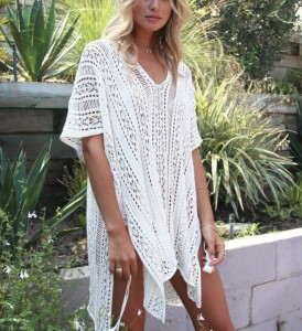 2019 New Design Fashion and Sexy White Color Beach Swimsuit for Women Sleeve Coverups Bikini Cover up Net