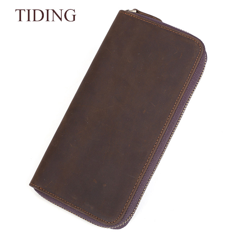 Vintage Handmade Custom Man Leather Coin Wallet Genuine Leather Long Zip Wallet For Phone