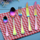 Popular Colorful dinnerware stainless steel flatware 72pcs cutlery set