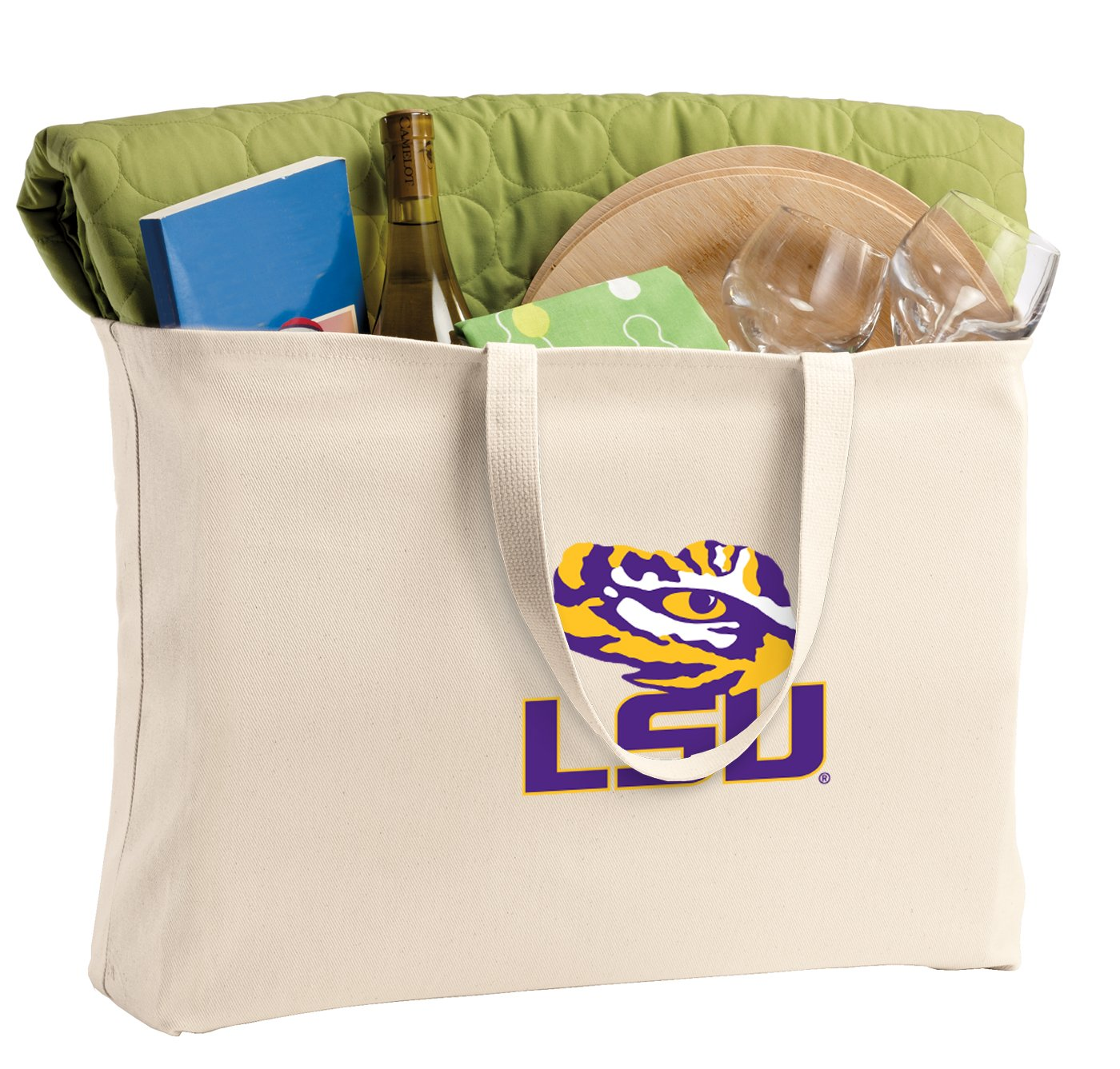 JUMBO LSU Tote Bag or Large Size Canvas LSU Shopping Bag