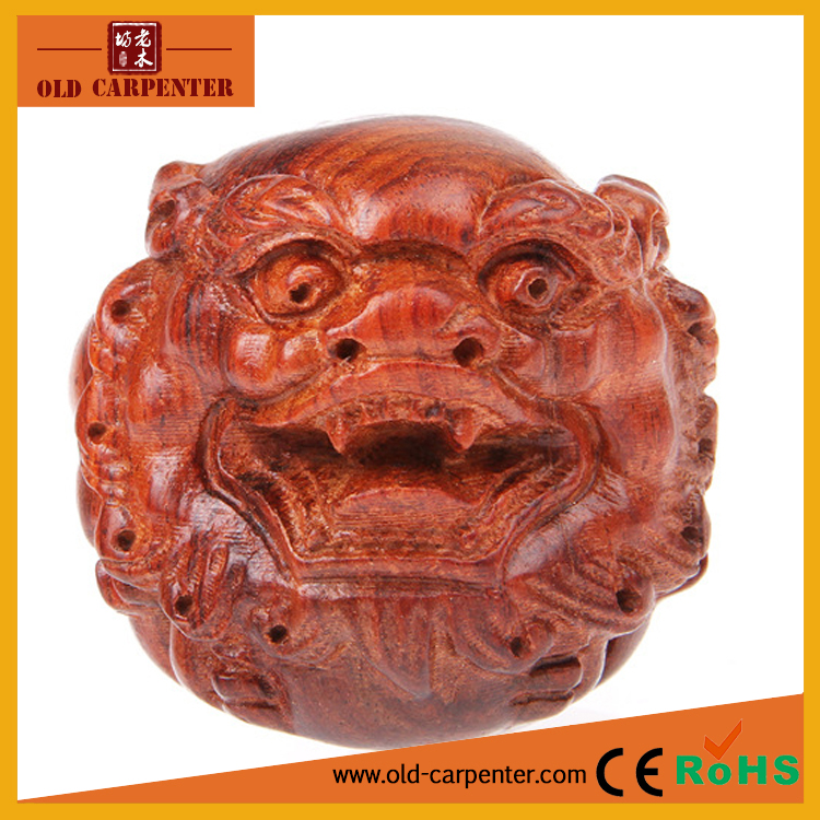 Chinese culture Mythical Pixiu Head carving ornament antique wooden craft