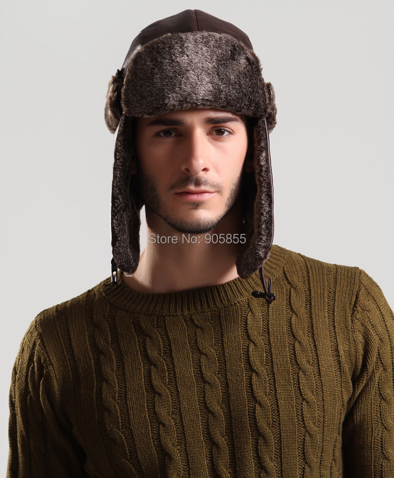 6860f802525 ... Windproof Trapper Hat Hunting PU Leather Fur cap Russian Winter Hat  Bomber Caps for Men ...